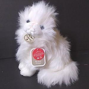 "New Hallmark white fluffy Persian cat Plush 10"""